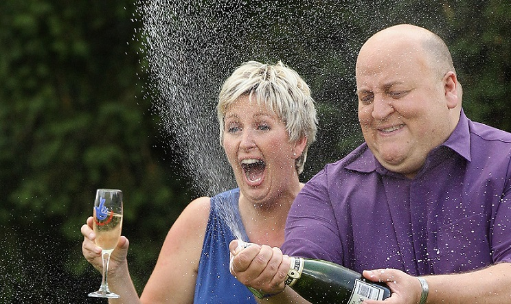 Adrian and Gillian Bayford celebrate their EuroMillions win.