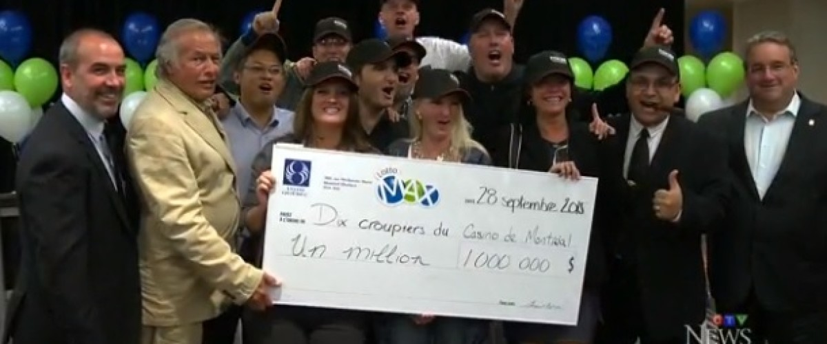 Croupier syndicate win $1 milllion on the Lotto Max in first draw they played