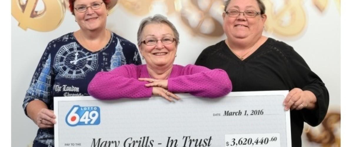 Three friends share $3.6 million in winning Canadian Lotto 649 draw