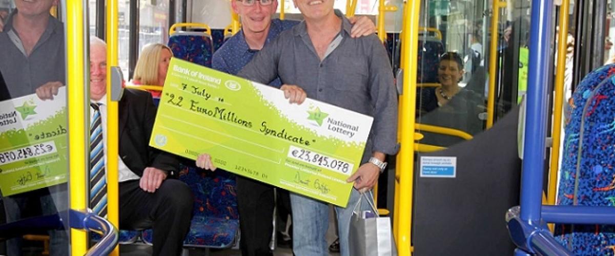Dublin bus drivers collect their €24 million EuroMillions winnings – in a Dublin bus