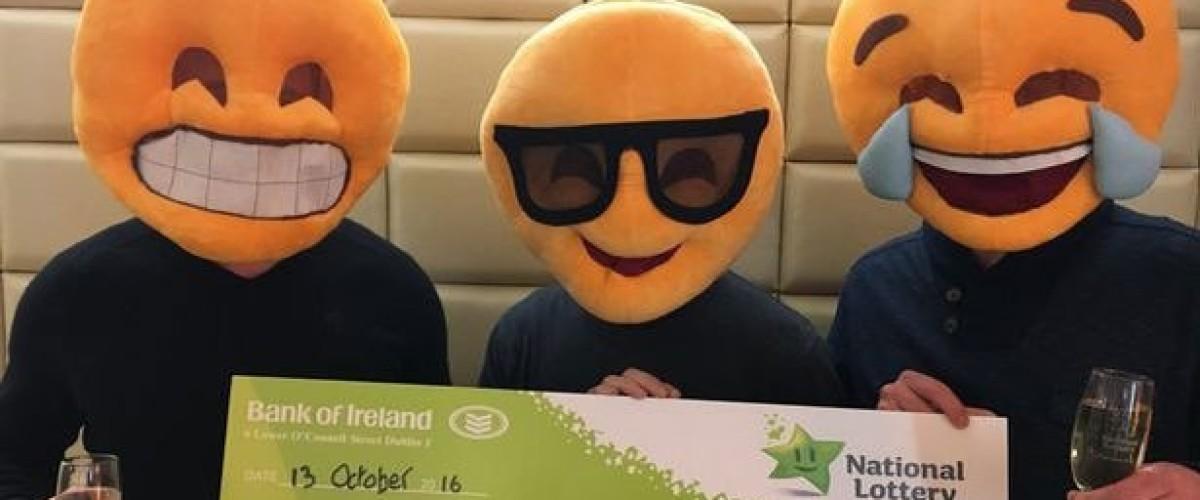 Emoji masked EuroMillions winner celebrates win