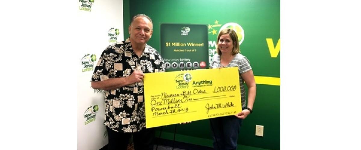 "New Jersey couple claim ""crazy"" $1 million Powerball prize"