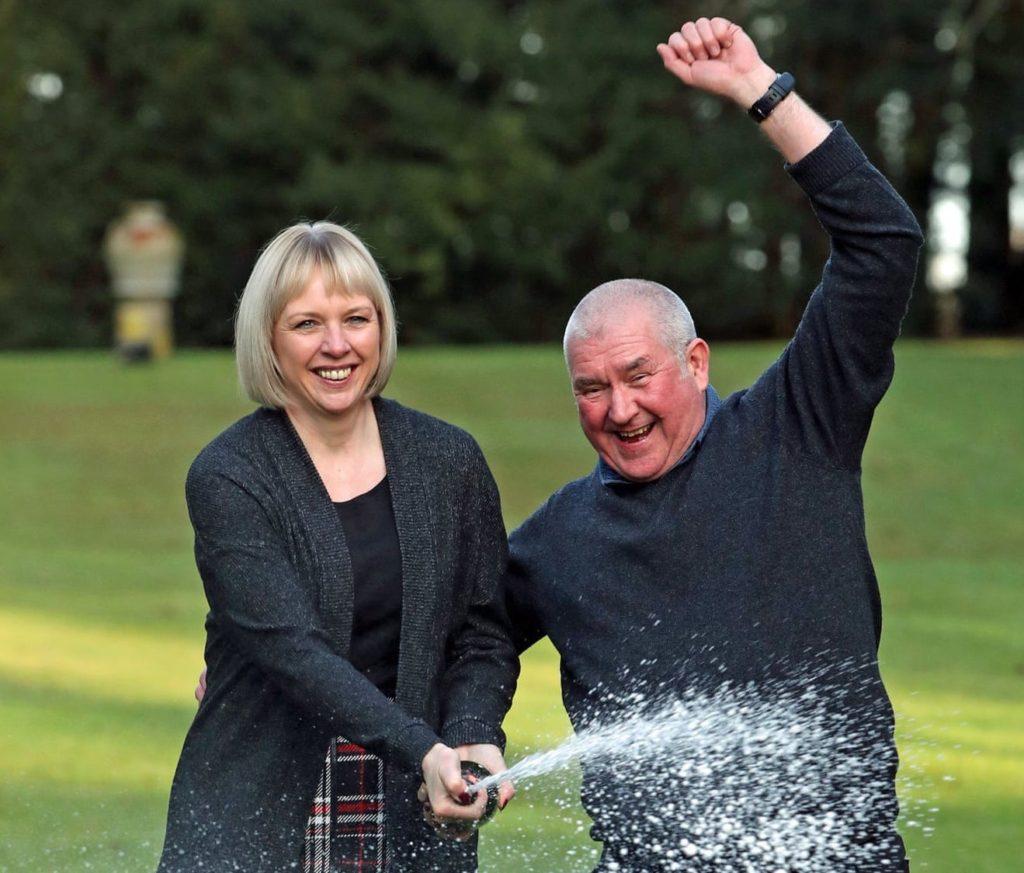 Alison and John McDonald celebrate