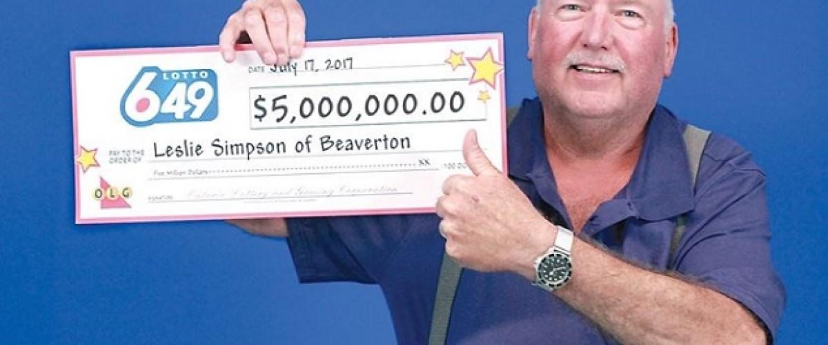 Leslie Simpson, ganador de 5 millones de euros en la Lotto 6/49