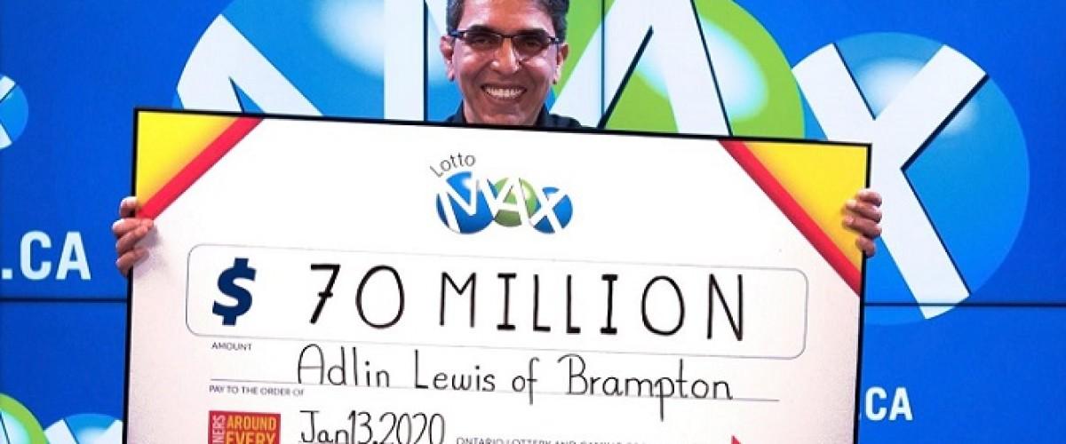 Adlin Lewis, un hombre de Brampton (Canadá), gana 70 millones de dólares en la Lotto Max