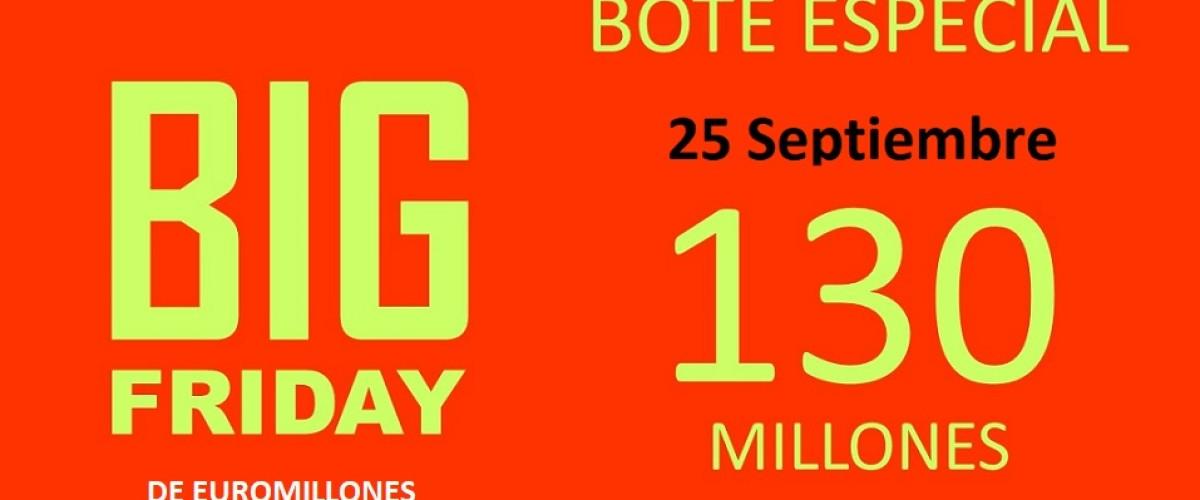El 25 de septiembre se celebra un nuevo Big Friday del Euromillones