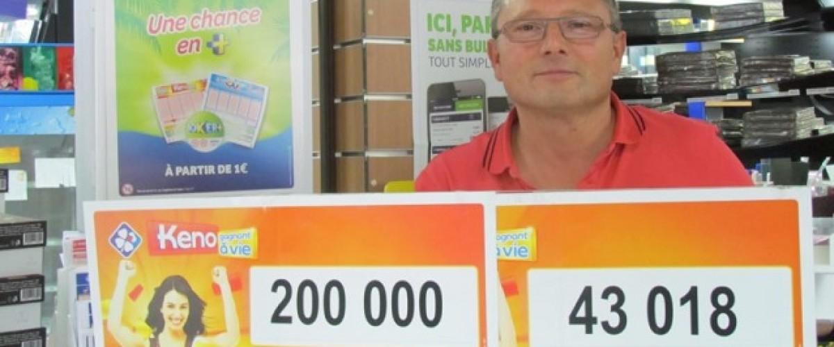 """Incroyable """"ricochet"""" du Keno pour un Vendéen : 43 000€ + 200 000€ le même jour !"""