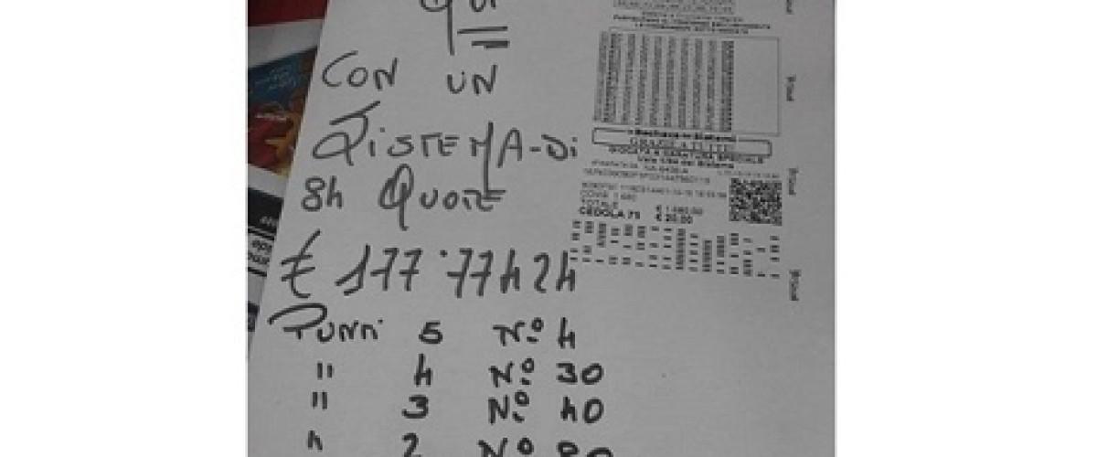 Sistema vincente al Superenalotto per 84 persone di Padula, a loro 178 mila euro!